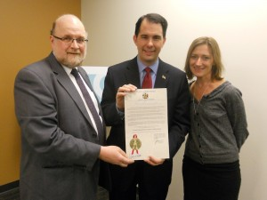 Gov Walker with  Hunt and Kmoch and CS Ed Week Proclamation-smaller
