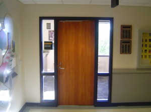 door of the Mathematics Department at GVSU